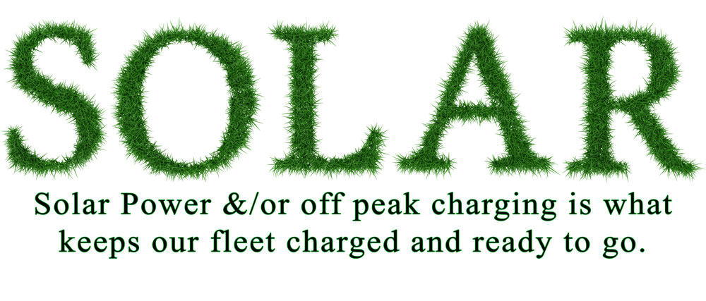 Solar powered lawn cutting image. Grass cut to say the word Solar.